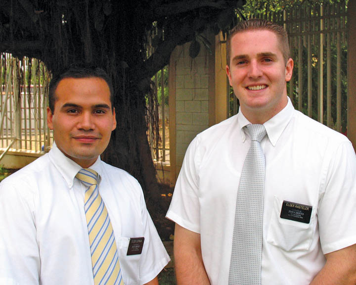 A picture of two Mormon Missionaries.