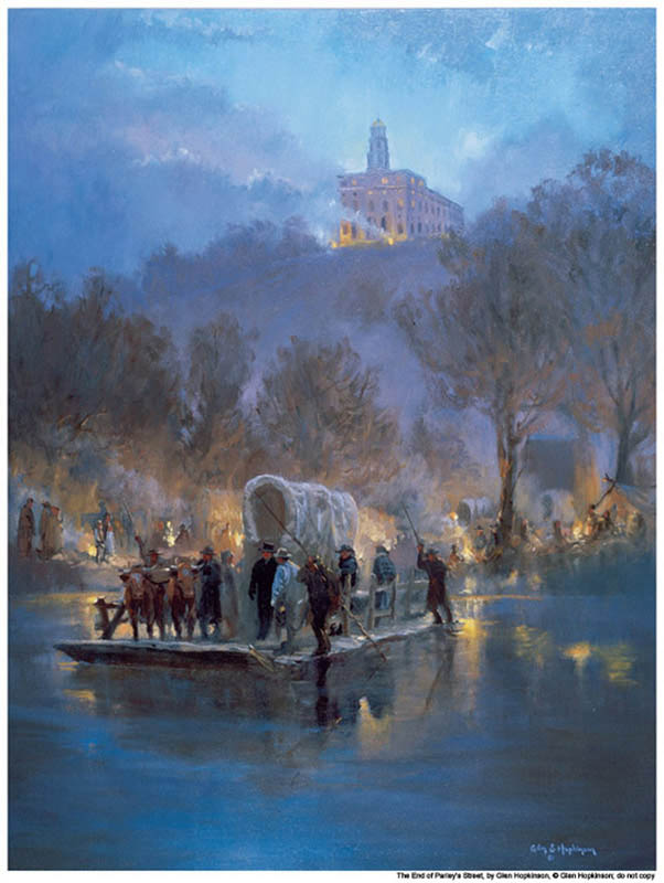 A painting of mormon saints leaving Nauvoo while temple is burning in the background.