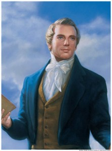A portrait painting of Joseph Smith holding scriptures in his right hand.
