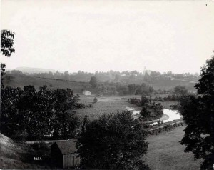 A black and white photograph of the Kirtland Countryside