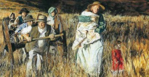 A painting showing pioneer Mormon saints pulling handcart through a field. A mother is carrying her child.