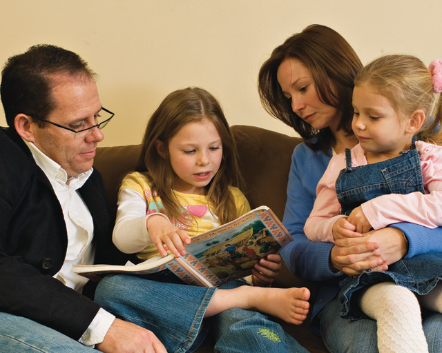 Mormon Family Teaching Children