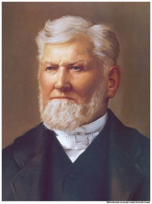 A portrait painting of Mormon Prophet Wilford Woodruff.