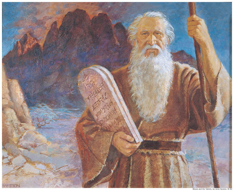A painting of Moses receiving the ten commandments from God on mt sinai