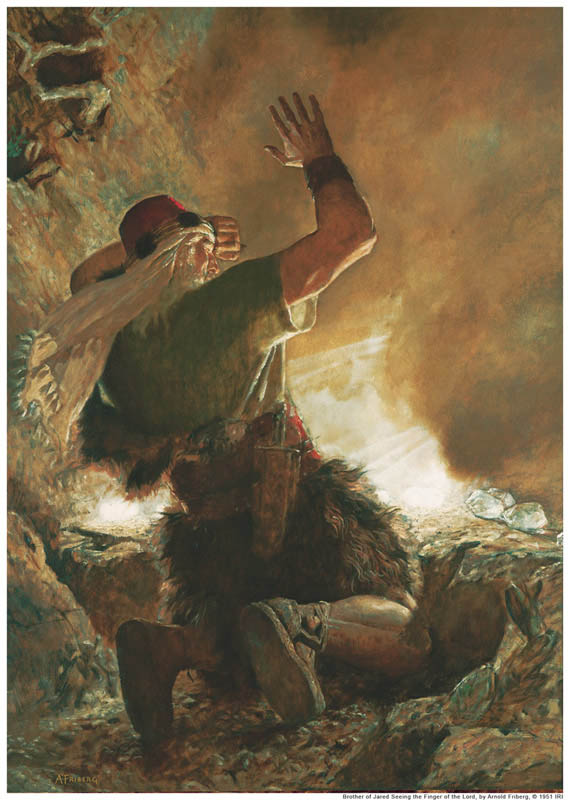 Painting of the Brother of Jared when Jesus Christ touches stones with his finger bringing light.