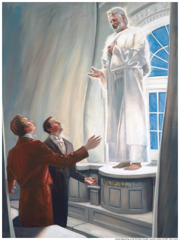 A painting of Elijah appearing to Joseph Smith and Oliver Cowdery in the Kirtland Temple to restore keys of the sealing power