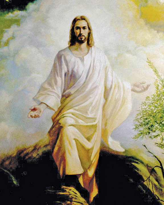 Painting of Jesus Christ in white robe descending from heaven.