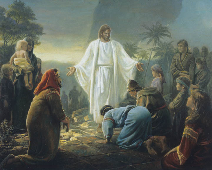 A painting of Jesus Christ visiting the Americas.