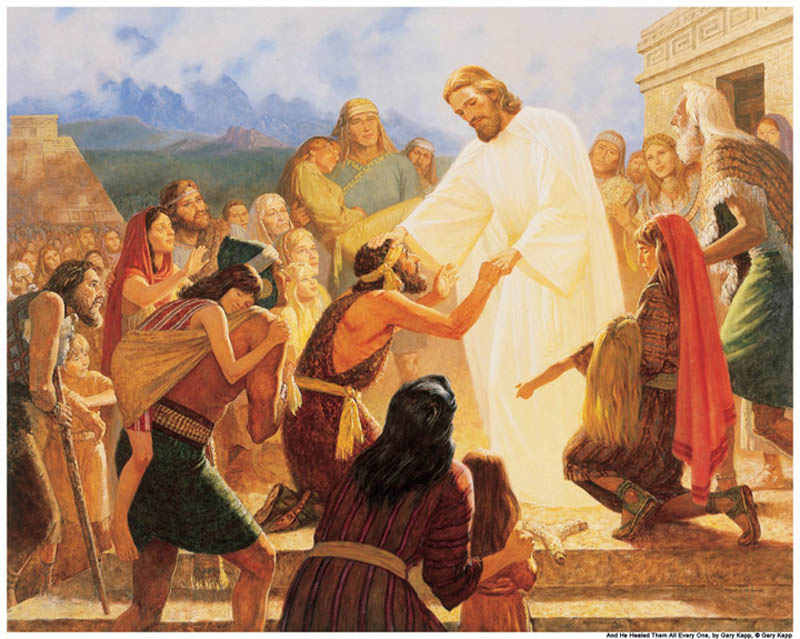 A painting of Jesus Christ healing a Nephite in the Americas.