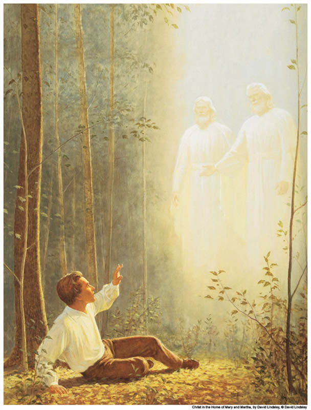 A painting of Joseph Smith. God and Jesus Christ appear before him in the First Vision.