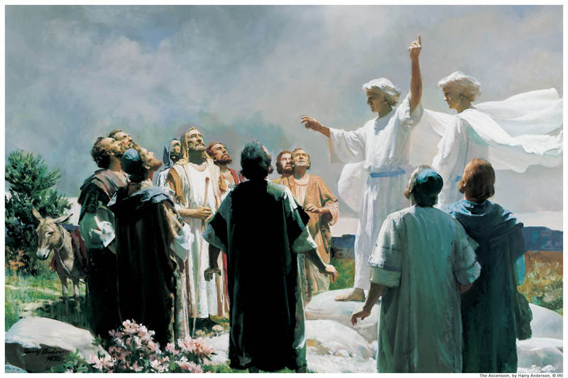 A painting of the ascension of Jesus by Harry Anderson.