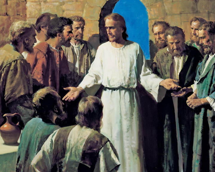 A painting of the resurrected Jesus Christ showing hands to his apostles.