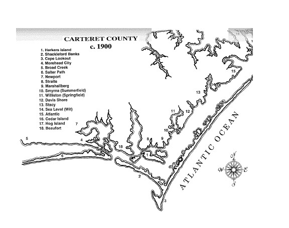 A map of Carteret County Map on Harkers Island, 1900