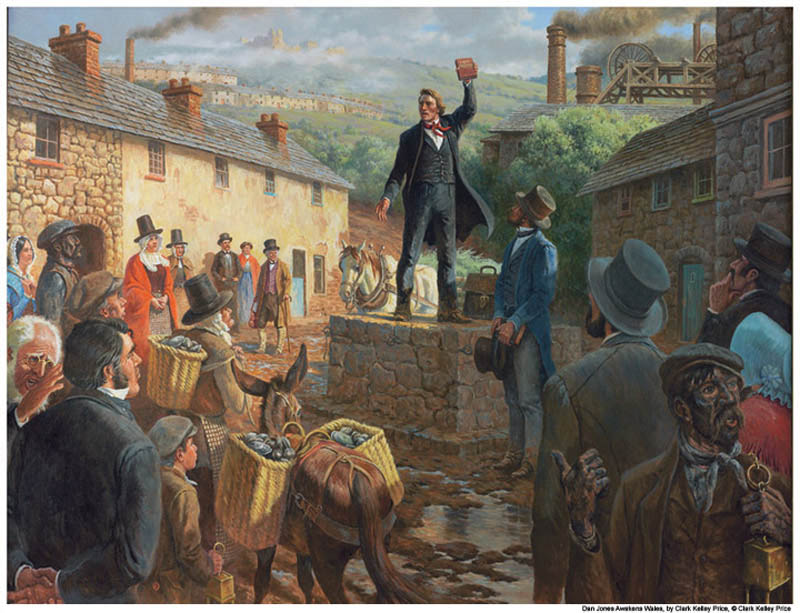 A painting of mormon missionary Dan Jones preaching in a town square in Wales.