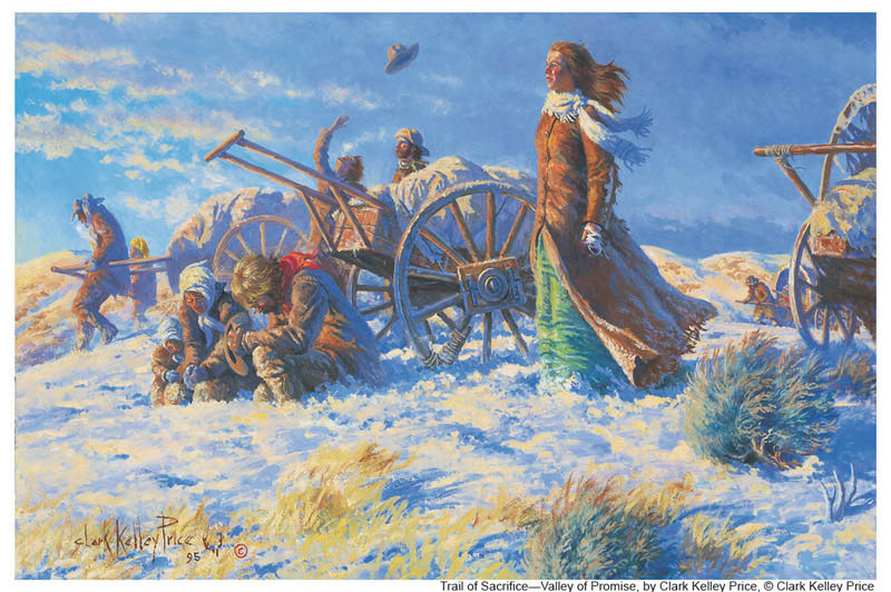 A painting of Mormon Pioneers crossing snow driven plains.