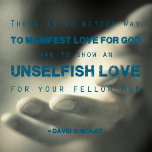 A quote explaining that love for god is unselfish love with Christ's hand in the background.