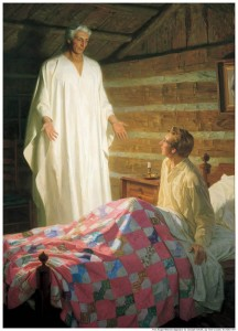A painting of angel Moroni visiting Joseph Smith at his bedside.