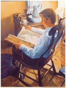 A painting of Joseph Smith who is 12 years old reading the bible.