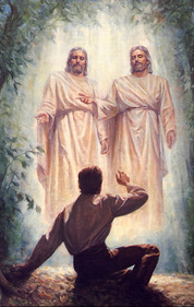 A painting of the First Vision. Joseph Smith sees God with Jesus Christ on his right side.