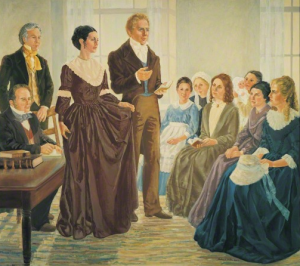 A painting depicting the establishment of the Mormon Female Relief Society on March 17 1842 by Joseph Smith.