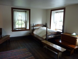 A picture of the room in Carthage Jail where Joseph Smith and Hyrum Smith were martyred and died at the hands of a mob.