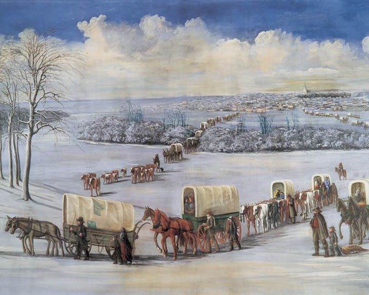 A painting of Mormon Pioneers Crossing the Mississippi on the Ice by C.C.A. Christensen.
