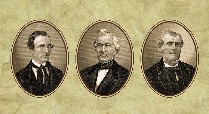 Three paintings consisting of Oliver Cowdery, David Whitmer, and Martin Harris; Three Witnesses to the Book of Mormon
