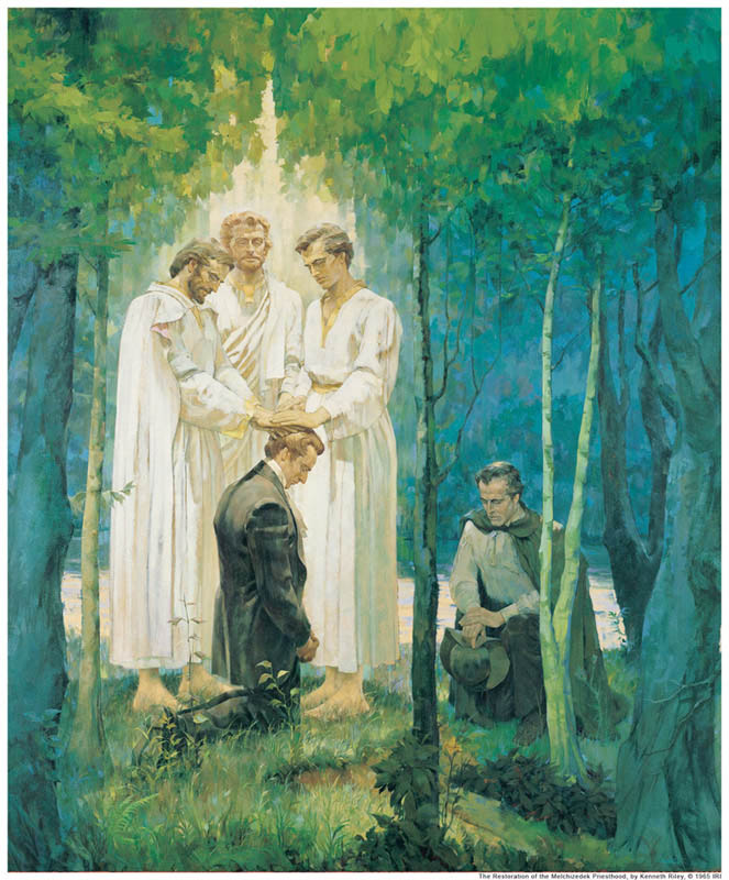 a painting of Peter, James, and John conferring the Melchizedek Priesthood keys on mormon prophet Joseph Smith and Oliver Cowdery.