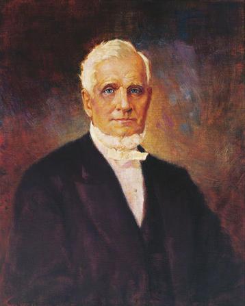 A portrait painting of the Mormon prophet John Taylor.